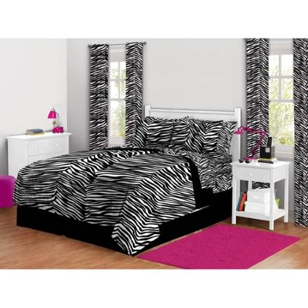 Twinxl 5-piece Black and White Stripes Zebra Print Complete Bed in a Bag Bedding Set