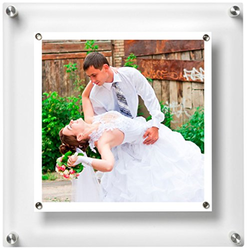 Panel Wall Acrylic Frame - Wexel Art 14x14-Inch Be Square Magnetic Single Panel Acrylic Floating Frame with Silver Hardware for Up to 12x12 Art & Photos