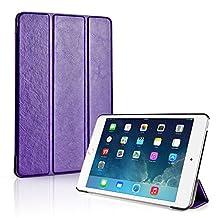 TNP iPad Mini 4 Case (Purple) - Ultra Slim Lightweight Folio Smart Cover Stand with Auto Sleep Wake Feature and Hard Rubberized Back for Apple iPad Mini 4 7.9 Inch Tablet 2015 Release