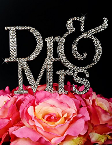 Unik Occasions Dr and Mrs Crystal Rhinestone Cake Topper, - Toppers Mrs And Cake Dr
