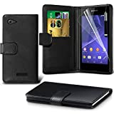 ( Black ) Sony Xperia E3 Case Premium Quality BookStyle PU Leather Wallet Flip With 2 Credit / Debit Card Slot Skin Cover With LCD Screen Protector Guard, Polishing Cloth & Mini Retractable Stylus Pen by Fone-Case