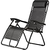 Sol Maya (1) Zero Gravity Recliner Infinity Lounge Patio Pool Yard Beach Chair 1pc Chair (Black)