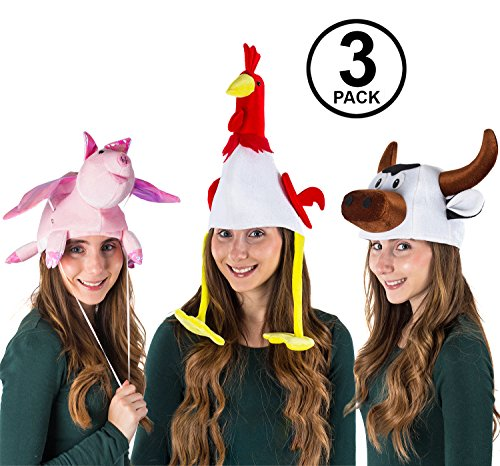 Tigerdoe Animal Costume Hats - 3 Pack - Farm Animal Hats - Farm Party - Dress Up - Farmer Theme Party