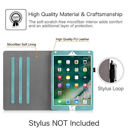 Fintie Case for iPad 9.7 2018 2017 / iPad Air 2 / iPad Air - [Corner Protection] Multi-Angle Viewing Folio Cover w/Pocket, Auto Wake/Sleep for iPad 6th / 5th Gen, iPad Air 1/2, Turquoise