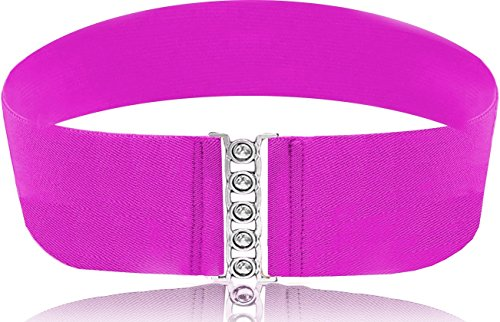 (LUNA Fashion 4 Inch Elastic Cinch Belt - Solid - Pink)