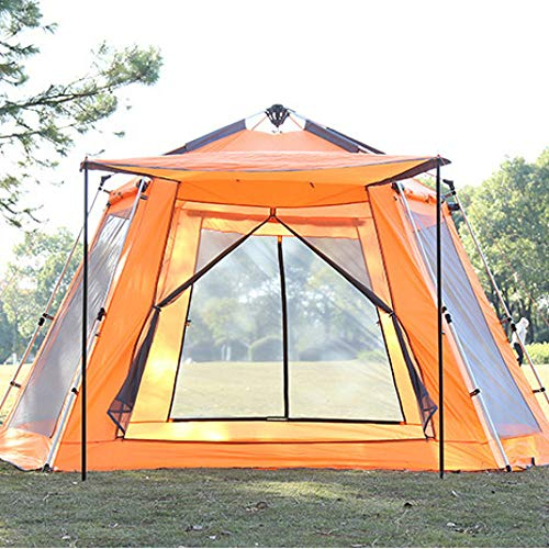 DLLzq Automatic Pop-up Tent,Outdoor Camping Hexangular Hydraulic 5-8 Person Waterproof Shade for Garden Fishing Picnic,Orange