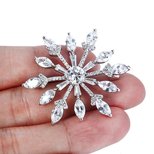 EVER FAITH Cubic Zirconia Gorgeous Winter Snowflake Flower Wedding Brooch Pin Clear