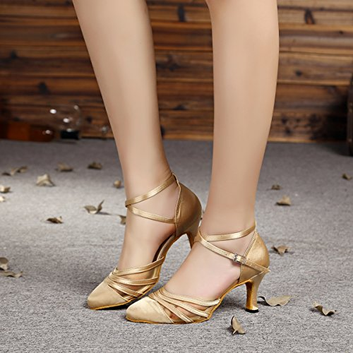 Ballroom Champagne Satin Shoes Latin L189 Salsa Dance Women's MINITOO Mesh wq6CftA