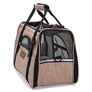 Priority Pets TSA Airline Approved Travel Pet Carrier with Mesh Top, Soft Mat and Sides | Tote Bag for Dogs and Cats
