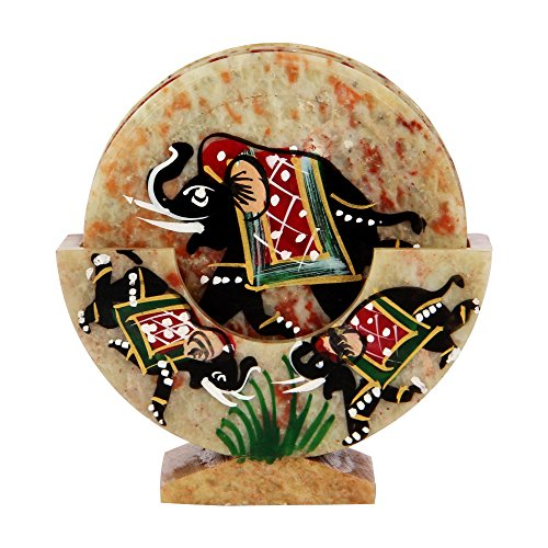 OnlineWorld Carved Marble Bar/Tea Coaster with Hand-painted Design over Marble Stone ()