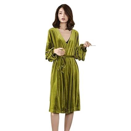 LLFFDC Pijamas para Mujer Invierno Sexy Lujo Suave Y Terciopelo Batas Albornoz Camisón Bata,Green