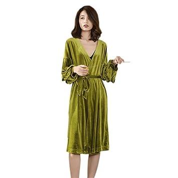 LLFFDC Pijamas para Mujer Invierno Sexy Lujo Suave Y Terciopelo Batas Albornoz Camisón Bata,Green: Amazon.es: Hogar