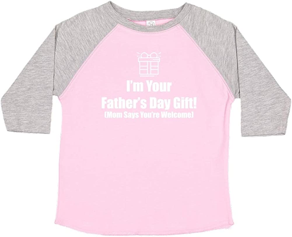 Mashed Clothing Happy Fathers Day Mom Says Youre Welcome Outlined Present Toddler//Kids Raglan T-Shirt