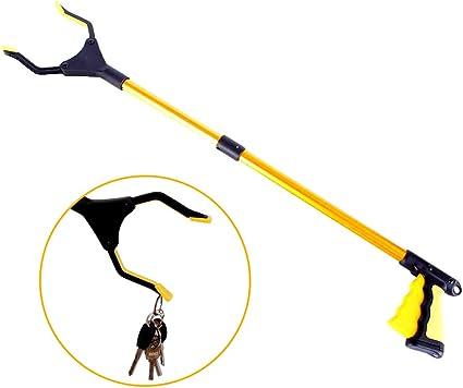32 inch Foldable Lawn Trash Picker Upper Grabber Extendable Grabber Reacher Tool with Headlight Portable Claw Grabber for Elderly 90/° Rotating Anti-Slip Jaw Heavy-Duty Stick