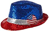 Amscan All-American Fourth of July Sequined Fedora Hat Accessory, Fabric, 5'' x 10'' Costume Supplies (6 Piece)