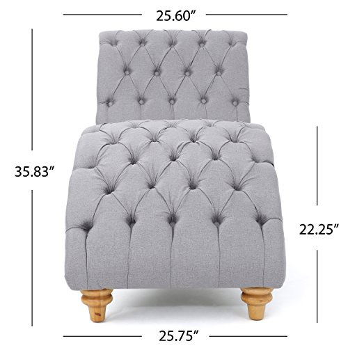 Bellanca Fabric Tufted Chaise Lounge Chair (Light Grey)