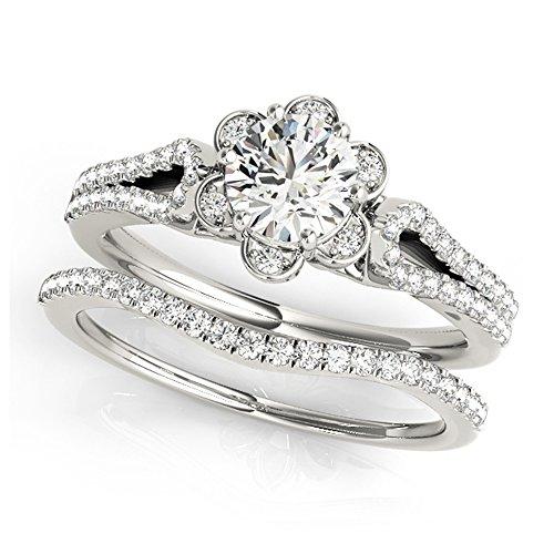 14K White Gold Unique Wedding Diamond Bridal Set Style MT51069