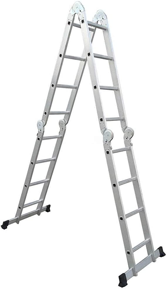 Grandmaster - Escalera De Aluminio Plegable 475cm, Escalera Multifuncional 6 En 1, Plataforma Incluida, Carga Máxima 150kg, Diseño Antideslizante, Tamaño Plegado 126x63x27cm: Amazon.es: Hogar