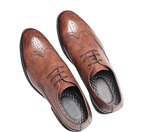 qianchuangyuan Chaussures de Ville pour Hommes Neuves Cuir PU à Lacets Bout D'Affaires Oxfords Chaussures Marron gDCJP