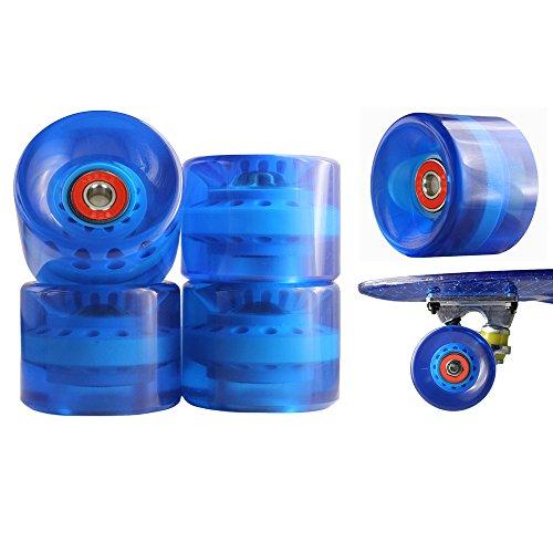 77 SPORT © 1 Set 4x Rollen für Penny-board Long-board Retro Skate-board und Mini Cruiser Board mit Kugellager ABEC-9 Skate Longboard Kugellager Shop Rollerblade Profi (ABEC-9, Blau)
