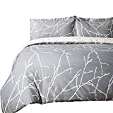 queen duvet cover grey - Bedsure Luxury Printed Duvet Cover Set Modern Microfiber with Zipper Closure and Corner Ties Grey Ivory Branch Pattern Full Queen Size 86