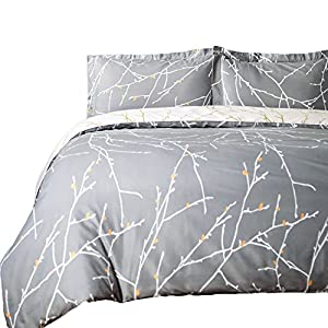 Bedsure Duvet Cover Set with Zipper Closure-Grey/Ivory Printed Pattern,King (104