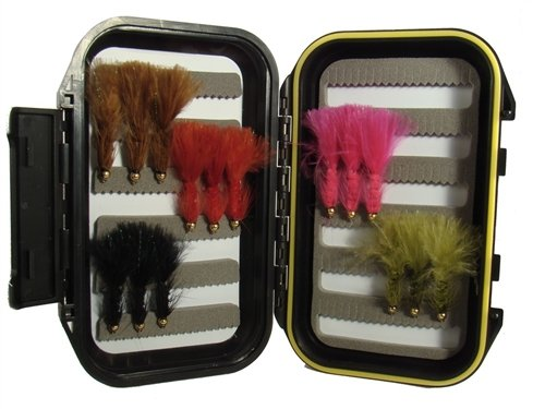 Wild Water Wooly Bugger Fly Assortment, 15 Flies with Small Fly Box
