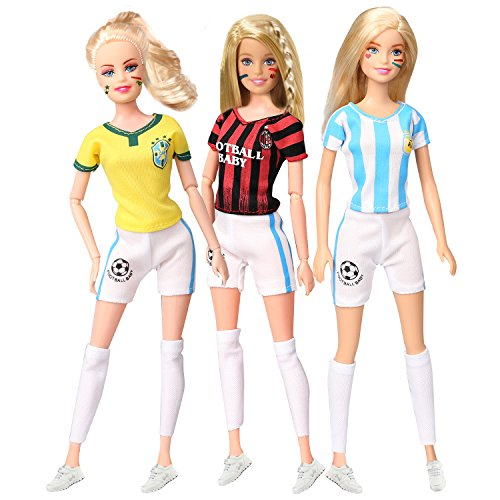 Doll Argentina - Rainbow Mini Clothes Set Football Baby Soccer Jersey Football Jerseys for 11.5 Inches Doll Pack of 3