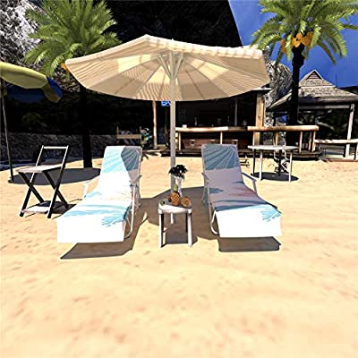 """83"""" Long Beach Chair Cover,Thicken Chaise Lounge Chair Cloth Cover,Patio Swimming Pool Chairs Recliners Cover,Beach Towel With Side Pocket, Holidays Sunbathing Quick Drying Terry Towel (Multi Color2#): Kitchen & Dining"""
