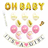 Baby Shower Decorations for Girl Baby Shower & It's A Girl Banner Pink Baby Shower Decorations 16 Balloons (Pink, Gold and White) White and Gold Sash Perfect All in One Decoration Bundle