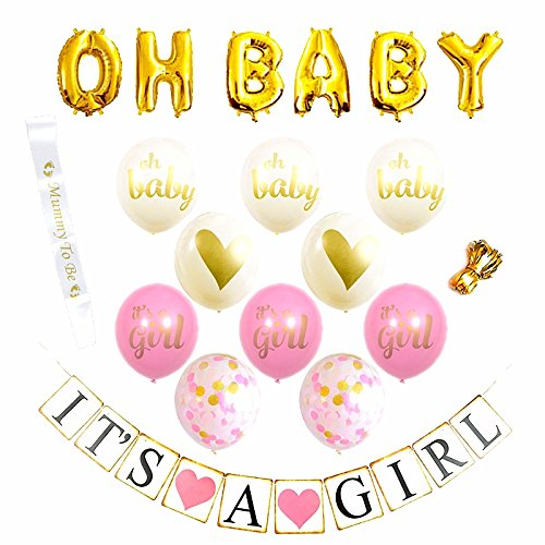 Baby Shower Decorations for Girl Baby Shower & It's A Girl Banner Pink Baby Shower Decorations 16 Balloons (Pink, Gold and White) White and Gold Sash Perfect All in One Decoration Bundle by DomiWay