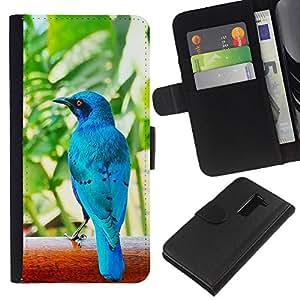 Planetar® Modelo colorido cuero carpeta tirón caso cubierta piel Holster Funda protección Para LG G2 D800 ( Azul Tropical Naturaleza Pájaro Selva )