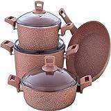 طقم أدوات طهي من الجرانيت مكون من 7 قطع بني
