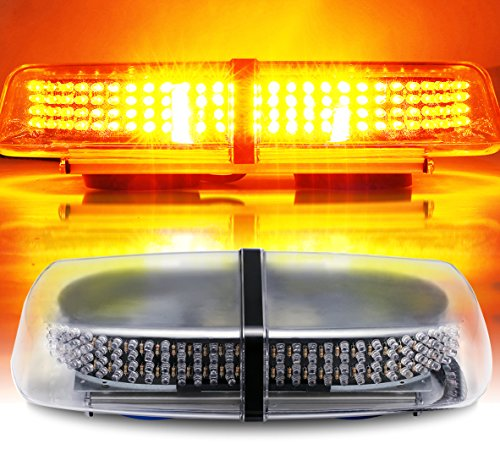 AMBOTHER Amber 240 LED Law Truck Car Enforcement Emergency Hazard Beacon Warning Police LED Mini Bar Snow Plow Safety Flash Strobe Light, Roof Mount with Magnetic Base 12V Waterproof
