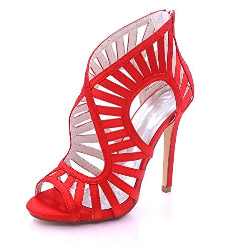 EU42 Gericht Blume Kleid EU35 Heels Frauen Satin Toe Silk Braut Party Stiefel Stiletto Frauen Stiefel Rot Größe Plattform Ager Peep Abend Schuhe fwqxaRf