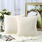 Miaote Pack of 2 Decorative Throw Pillow Covers Cases for Couch Bed Sofa,Striped Corduroy Velvet Cushion Covers for Baby, 22 X 22 Inches,Cream Cheese