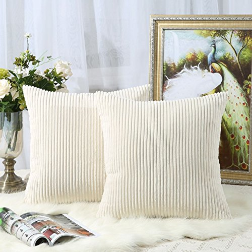 Miaote Pack of 2 Decorative Throw Pillow Covers Cases for Couch Bed Sofa,Striped Corduroy Velvet Cushion Covers for Baby, 18 X 18 Inches,Cream Cheese (Cut Velvet Stripe)