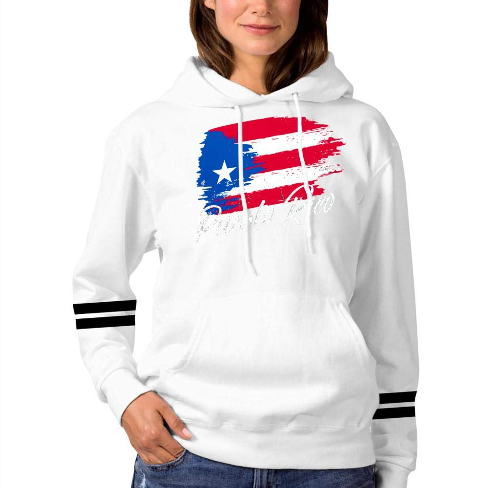 GCASST Puerto Rico Map Flag Hooded Sweatshirt Long Sleeve Tops with Pockets for Women Cotton Hoodies