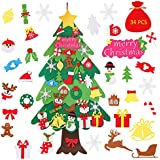 Kozigoods 3.6 Ft DIY Felt Christmas Tree for Toddlers Kids, 34 Pcs Detachable Ornaments Christmas Tree Wall Hanging Decorations New Year Holiday Party Game Toy Gift