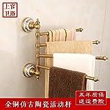 Yomiokla Bathroom Accessories - Kitchen, Toilet, Balcony and Bathroom Metal Towel Ring Rotation of Whole Copper Antique Continental Antique Ceramic Multi-Rod Towel Part 3