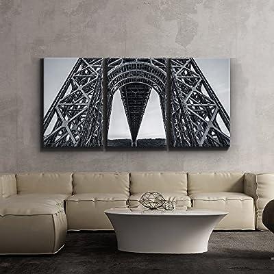 Print Contemporary Art Wall Decor Stark Black and White Geometric Bridge Architecture Artwork Wood Stretcher Bars x3 Panels