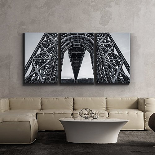 Print Contemporary Art Wall Decor Stark black and white geometric bridge architecture Giclee Artwork Gallery ped Wood Stretcher Bars x3 Panels