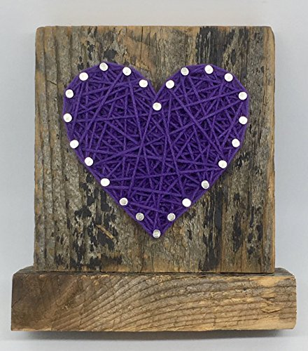 Sweet & small freestanding wooden purple string art heart sign. Perfect for home accents, Wedding favors, Anniversary gifts, Valentine's Day, Christmas, nursery decoration and just because gifts.