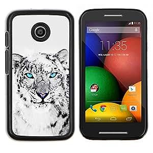 LECELL--Funda protectora / Cubierta / Piel For Motorola Moto E -- Snow Leopard Negro Gato Blanco Animal --
