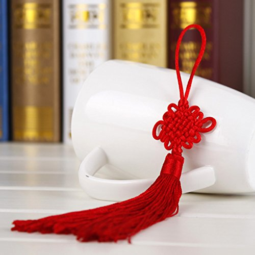 (10Pcs Red Hand-knit Chinese knot Gift Celebration Supplies Car Pendant)