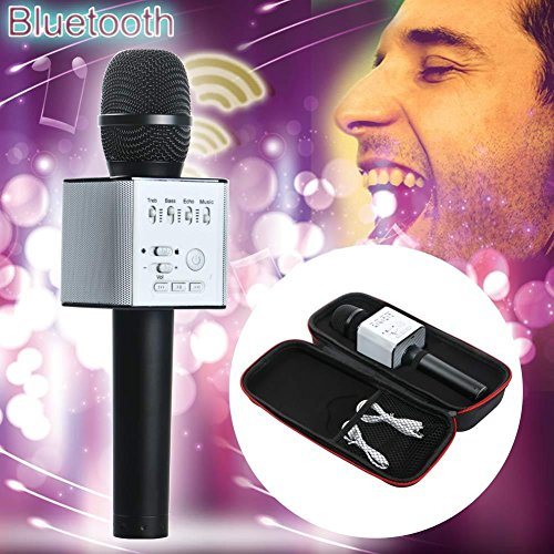 FidgetGear Q9 Wireless Handheld Microphone KTV Karaoke Stereo USB Player Bluetooth Easytake Q9 Black from FidgetGear