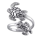 Sea Turtles Sterling Silver Ring Sea Turtle Adjustable Bypass Nautical Nature Ocean Jewelry