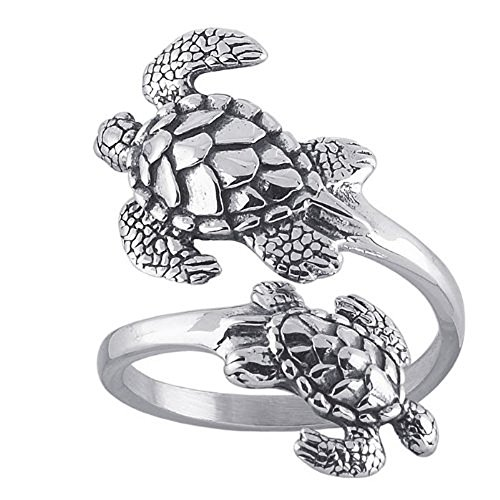 Unrealfind Sea Turtles Sterling Silver Ring Sea Turtle Adjustable Bypass Nautical Nature Ocean Jewelry