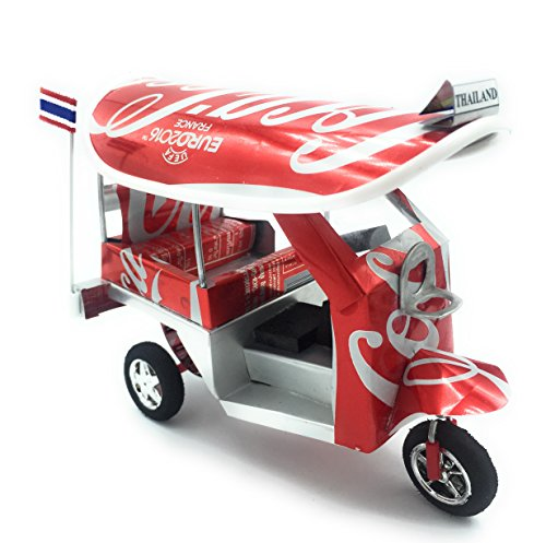 Thailand Thai tuktuk classic handmade Thai TUK TUK taxi made of Cocacola can aluminium model Collection show in room home office or great gift all seasion put in plastic clear box