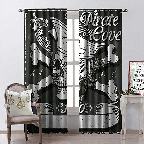 Hengshu Pirate Blackout Window Curtain Pirate Cove Flag Year of 650 Vintage Frame Crossbones Floral Swirls Hat Heart Customized Curtains W84 x L96 Black White ()